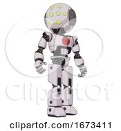 Cyborg Containing Round Head And Green Eyes Array And Light Chest Exoshielding And Red Chest Button And Prototype Exoplate Legs White Halftone Toon Hero Pose