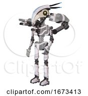 Bot Containing Bird Skull Head And Yellow Led Protruding Eyes And Head Shield Design And Light Chest Exoshielding And Minigun Back Assembly And No Chest Plating And Ultralight Foot Exosuit