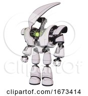 Android Containing Flat Elongated Skull Head And Heavy Upper Chest And Heavy Mech Chest And Green Energy Core And Light Leg Exoshielding White Halftone Toon Standing Looking Right Restful Pose