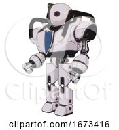 Mech Containing Oval Wide Head And Small Red Led Eyes And Green Led Ornament And Heavy Upper Chest And Blue Shield Defense Design And Prototype Exoplate Legs White Halftone Toon Facing Right View