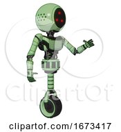 Droid Containing Three Led Eyes Round Head And Light Chest Exoshielding And Ultralight Chest Exosuit And Unicycle Wheel Green Tint Toon Interacting