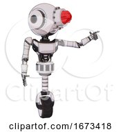 Bot Containing Round Head And Red Laser Crystal Array And Head Light Gadgets And Light Chest Exoshielding And Ultralight Chest Exosuit And Unicycle Wheel White Halftone Toon