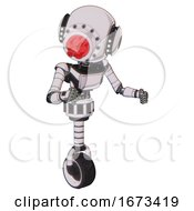 Bot Containing Round Head And Red Laser Crystal Array And Head Light Gadgets And Light Chest Exoshielding And Ultralight Chest Exosuit And Unicycle Wheel White Halftone Toon Fight Or Defense Pose