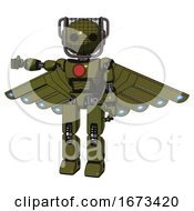 Mech Containing Oval Wide Head And Barbed Wire Visor Helmet And Light Chest Exoshielding And Red Chest Button And Cherub Wings Design And Prototype Exoplate Legs Army Green Halftone