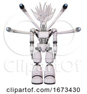 Automaton Containing Humanoid Face Mask And Binary War Paint And Light Chest Exoshielding And Ultralight Chest Exosuit And Blue Eye Cam Cable Tentacles And Light Leg Exoshielding White Halftone Toon