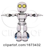 Droid Containing Round Head And Large Yellow Eyes And Light Chest Exoshielding And Chest Green Blue Lights Array And Light Leg Exoshielding And Megneto Hovers Foot Mod White Halftone Toon T Pose
