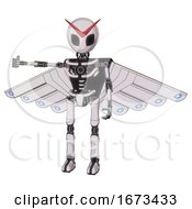 Android Containing Grey Alien Style Head And Black Eyes And Light Chest Exoshielding And Cherub Wings Design And No Chest Plating And Ultralight Foot Exosuit White Halftone Toon