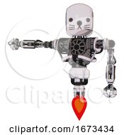 Bot Containing Round Head And Heavy Upper Chest And No Chest Plating And Jet Propulsion And Cat Face White Halftone Toon Arm Out Holding Invisible Object