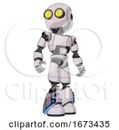 Droid Containing Round Head And Large Yellow Eyes And Light Chest Exoshielding And Chest Green Blue Lights Array And Light Leg Exoshielding And Megneto Hovers Foot Mod White Halftone Toon Hero Pose