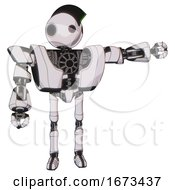 Automaton Containing Oval Wide Head And Small Red Led Eyes And Techno Mohawk And Heavy Upper Chest And Heavy Mech Chest And Ultralight Foot Exosuit White Halftone Toon