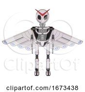 Android Containing Grey Alien Style Head And Black Eyes And Light Chest Exoshielding And Cherub Wings Design And No Chest Plating And Ultralight Foot Exosuit White Halftone Toon Front View