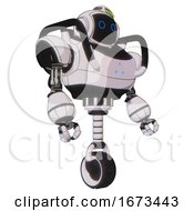 Android Containing Digital Display Head And Circle Eyes And Green Led Array And Heavy Upper Chest And Triangle Of Blue Leds And Unicycle Wheel White Halftone Toon Facing Left View