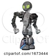 Mech Containing Grey Alien Style Head And Cats Eyes And Heavy Upper Chest And No Chest Plating And Light Leg Exoshielding And Megneto Hovers Foot Mod Patent Concrete Gray Metal Hero Pose
