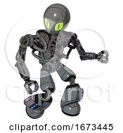 Mech Containing Grey Alien Style Head And Cats Eyes And Heavy Upper Chest And No Chest Plating And Light Leg Exoshielding And Megneto Hovers Foot Mod Patent Concrete Gray Metal