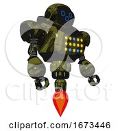 Robot Containing Digital Display Head And Woo Expression And Heavy Upper Chest And Colored Lights Array And Jet Propulsion Grunge Army Green Facing Left View