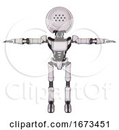 Robot Containing Dots Array Face And Light Chest Exoshielding And Ultralight Chest Exosuit And Ultralight Foot Exosuit White Halftone Toon T Pose