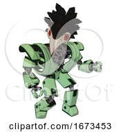 Automaton Containing Bird Skull Head And Red Led Circle Eyes And Crow Feather Design And Heavy Upper Chest And Heavy Mech Chest And Prototype Exoplate Legs Green Tint Toon Fight Or Defense Pose