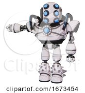 Automaton Containing Round Head And Six Eye Array And Bug Eyes And Heavy Upper Chest And Chest Blue Energy Core And Blue Strip Lights And Light Leg Exoshielding And Spike Foot Mod