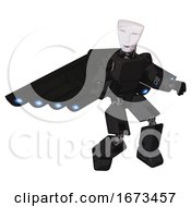 Robot Containing Humanoid Face Mask And Light Chest Exoshielding And Prototype Exoplate Chest And Cherub Wings Design And Prototype Exoplate Legs Clean Black Fight Or Defense Pose