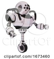 Automaton Containing Round Head And Bug Eye Array And Heavy Upper Chest And Triangle Of Blue Leds And Unicycle Wheel White Halftone Toon Interacting