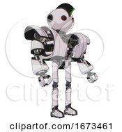 Automaton Containing Oval Wide Head And Small Red Led Eyes And Techno Mohawk And Heavy Upper Chest And Heavy Mech Chest And Ultralight Foot Exosuit White Halftone Toon Facing Left View