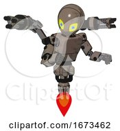 Poster, Art Print Of Bot Containing Grey Alien Style Head And Yellow Eyes With Blue Pupils And Light Chest Exoshielding And Prototype Exoplate Chest And Minigun Back Assembly And Jet Propulsion Patent Khaki Metal