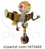 Robot Containing Round Head And Yellow Eyes Array And First Aid Emblem And Light Chest Exoshielding And Stellar Jet Wing Rocket Pack And No Chest Plating And Unicycle Wheel