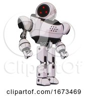 Droid Containing Three Led Eyes Round Head And Heavy Upper Chest And Prototype Exoplate Legs White Halftone Toon Hero Pose