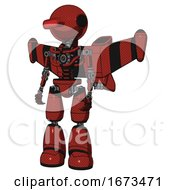 Mech Containing Oval Wide Head And Red Horizontal Visor And Light Chest Exoshielding And Stellar Jet Wing Rocket Pack And No Chest Plating And Light Leg Exoshielding Cherry Tomato Red