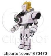 Droid Containing Humanoid Face Mask And Heavy Upper Chest And Chest Energy Gun And Prototype Exoplate Legs White Halftone Toon Facing Right View