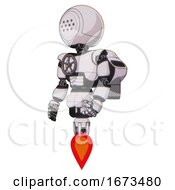 Cyborg Containing Dots Array Face And Light Chest Exoshielding And Chest Valve Crank And Rocket Pack And Jet Propulsion White Halftone Toon Facing Right View
