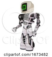 Automaton Containing Old Computer Monitor And Pixel Square Design And Heavy Upper Chest And No Chest Plating And Light Leg Exoshielding And Stomper Foot Mod White Halftone Toon Facing Right View