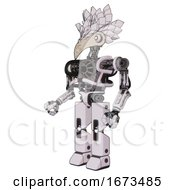 Cyborg Containing Bird Skull Head And White Eyeballs And Bird Feather Design And Heavy Upper Chest And No Chest Plating And Prototype Exoplate Legs White Halftone Toon Facing Right View