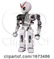 Cyborg Containing Grey Alien Style Head And Green Inset Eyes And Heavy Upper Chest And No Chest Plating And Prototype Exoplate Legs White Halftone Toon Standing Looking Right Restful Pose