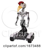 Mech Containing Bird Skull Head And White Eyeballs And Chicken Design And Light Chest Exoshielding And No Chest Plating And Six Wheeler Base White Halftone Toon Standing Looking Right Restful Pose