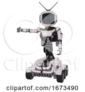 Mech Containing Digital Display Head And Circle Eyes And Retro Antennas And Light Chest Exoshielding And Ultralight Chest Exosuit And Rocket Pack And Six Wheeler Base White Halftone Toon