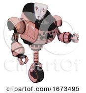 Cyborg Containing Humanoid Face Mask And Red Clown Marks And Heavy Upper Chest And Chest Compound Eyes And Unicycle Wheel Toon Pink Tint Fight Or Defense Pose