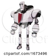 Android Containing Humanoid Face Mask And Skeleton War Paint And Heavy Upper Chest And Red Shield Defense Design And Ultralight Foot Exosuit White Halftone Toon Standing Looking Right Restful Pose