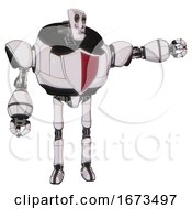 Android Containing Humanoid Face Mask And Skeleton War Paint And Heavy Upper Chest And Red Shield Defense Design And Ultralight Foot Exosuit White Halftone Toon Pointing Left Or Pushing A Button