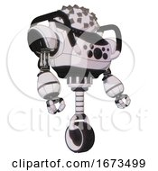 Mech Containing Metal Cubes Dome Head Design And Heavy Upper Chest And Chest Compound Eyes And Unicycle Wheel White Halftone Toon Facing Left View