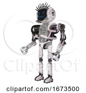 Cyborg Containing Digital Display Head And Stunned Expression And Eye Lashes Deco And Heavy Upper Chest And No Chest Plating And Ultralight Foot Exosuit White Halftone Toon Facing Right View