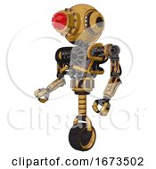 Android Containing Round Head And Red Laser Crystal Array And Head Light Gadgets And Heavy Upper Chest And No Chest Plating And Unicycle Wheel Construction Yellow Halftone Facing Right View