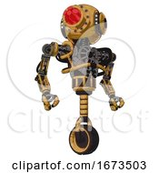 Android Containing Round Head And Red Laser Crystal Array And Head Light Gadgets And Heavy Upper Chest And No Chest Plating And Unicycle Wheel Construction Yellow Halftone Hero Pose