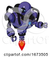 Droid Containing Dual Retro Camera Head And Black Circle Blue Eyes Head And Heavy Upper Chest And Chest Blue Energy Core And Jet Propulsion Primary Blue Halftone Fight Or Defense Pose