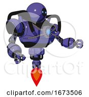 Droid Containing Dual Retro Camera Head And Black Circle Blue Eyes Head And Heavy Upper Chest And Chest Blue Energy Core And Jet Propulsion Primary Blue Halftone Interacting
