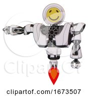 Automaton Containing Round Head Yellow Happy Face And Heavy Upper Chest And Heavy Mech Chest And Jet Propulsion White Halftone Toon Arm Out Holding Invisible Object