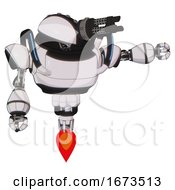 Mech Containing Gatling Gun Face Design And Heavy Upper Chest And Blue Strip Lights And Jet Propulsion White Halftone Toon Pointing Left Or Pushing A Button