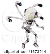Android Containing Round Head And Green Eyes Array And Head Light Gadgets And Light Chest Exoshielding And Blue Eye Cam Cable Tentacles And No Chest Plating And Ultralight Foot Exosuit