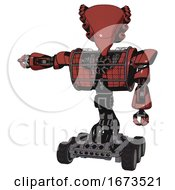 Cyborg Containing Flat Elongated Skull Head And Heavy Upper Chest And Heavy Mech Chest And Barbed Wire Chest Armor Cage And Six Wheeler Base Light Brick Red Arm Out Holding Invisible Object