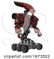 Cyborg Containing Flat Elongated Skull Head And Heavy Upper Chest And Heavy Mech Chest And Barbed Wire Chest Armor Cage And Six Wheeler Base Light Brick Red Facing Left View